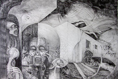 Visionary Art Drawing - Outskirts Of Necropolis by Otto Rapp