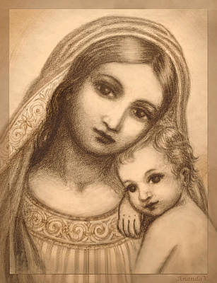 Child Jesus Mixed Media - Oval Madonna Drawing by Ananda Vdovic