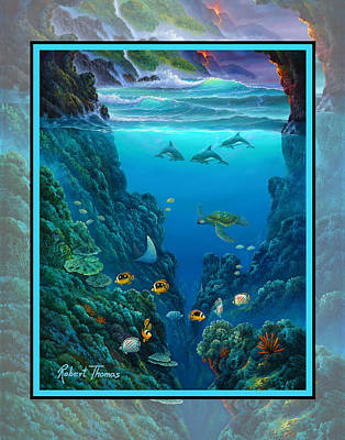 Eagle Ray Painting - Over And Under Volcano Seascape by Robert Thomas