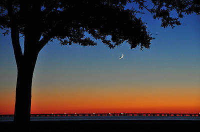 Moon Photograph - Over Lake Pontchartrain by Charlotte Schafer