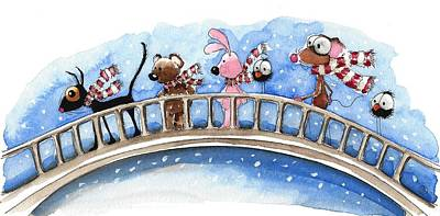 Over The Bridge They Go Print by Lucia Stewart