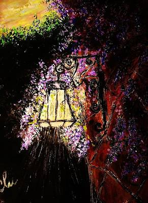 Night Lamp Painting - Over The Trees.. by Cristina Mihailescu
