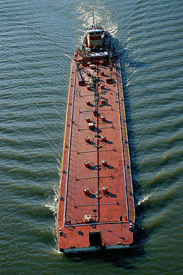 Overhead View Of Barge Print by Panoramic Images