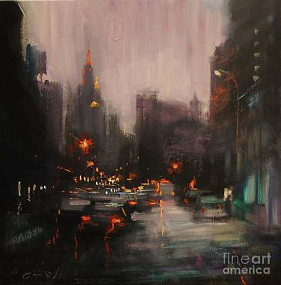 Painting - Overlooking Empire State Building by Chin H  Shin