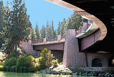 Rimrock Photograph - Healy Bridge Over Deschutes River by Gwyn Newcombe