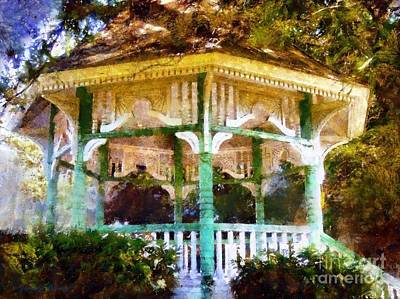 Owego Gazebo Courthouse Square Park Print by Janine Riley