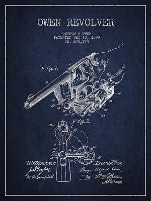 Owen Revolver Patent Drawing From 1899- Navy Blue Print by Aged Pixel