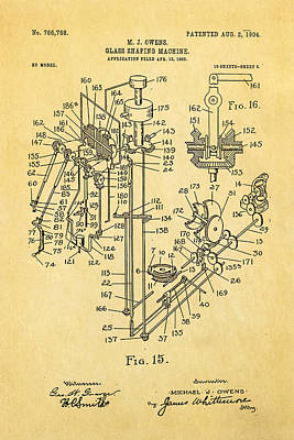 Owens Glass Shaping Machine Patent Art 2 1904 Print by Ian Monk