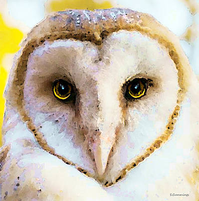 Barn Digital Art - Owl Art - Soft Love by Sharon Cummings