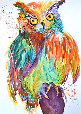 Yellow Beak Painting - Owl Be Seeing You by Beverley Harper Tinsley
