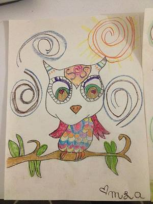 Owl Drawing Inspired By Wine Original by Fronica Arts