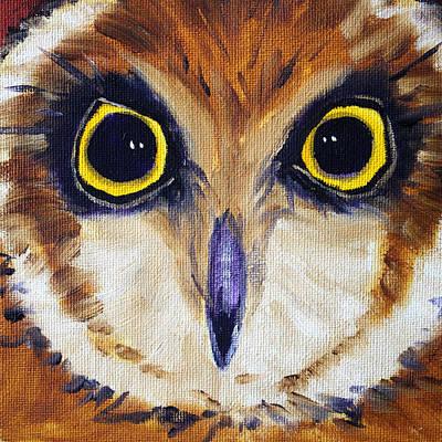 Yellow Beak Painting - Owl Eyes by Nancy Merkle