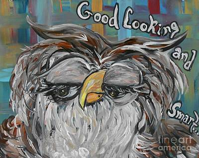Portrait Mixed Media - Owl - Goodlooking And Smart by Eloise Schneider
