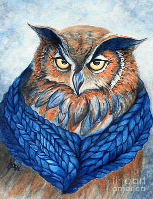 Yellow Beak Painting - Owl In A Cowl by Janine Riley