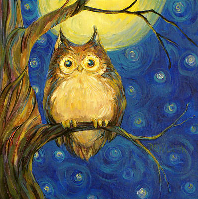 Moon Painting - Owl In Starry Night by Peggy Wilson