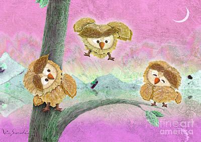 Leaf Painting - Owl Leaf Love Lake by Vin Kitayama
