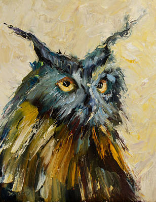 Diane Whitehead Art Original featuring the painting Owl Study by Diane Whitehead