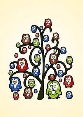 Owl Tree Print by Anastasiya Malakhova