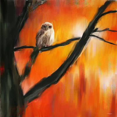 Tree At Sunset Painting - Owl Tree by Lourry Legarde