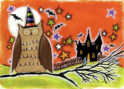 Bat Painting - Owl With Hat by Anne Tavoletti