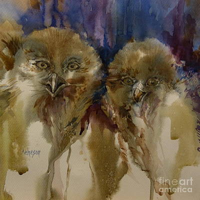 Wet On Wet Painting - Owls by Donna Acheson-Juillet