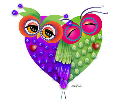 Visual Creations Drawing - Owl's Love by Isabel Salvador