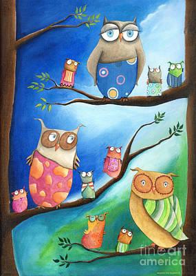 Babies Painting - Owls School by Sonja Mengkowski