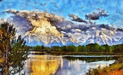 American West Mixed Media - Oxbow Bend Grand Teton National Park by Dan Sproul