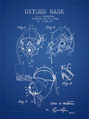 Oxygen Mask Patent From 1944 - Blueprint Print by Aged Pixel