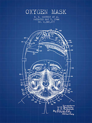 Oxygen Mask Patent From 1944 - One - Blueprint Print by Aged Pixel