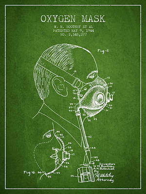 Oxygen Mask Patent From 1944 - Three - Green Print by Aged Pixel
