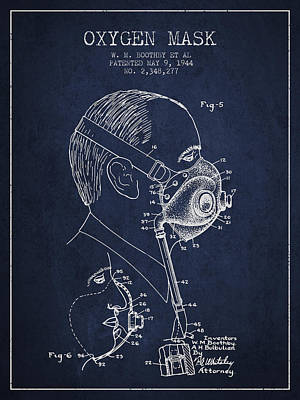 Oxygen Mask Patent From 1944 - Three - Navy Blue Print by Aged Pixel