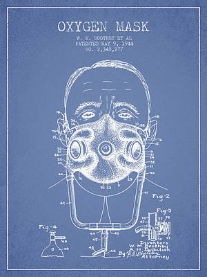 Oxygen Mask Patent From 1944 - Two - Light Blue Print by Aged Pixel