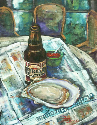 Louisiana Art Painting - Oyster And Amber by Dianne Parks