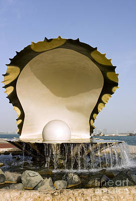 Habor Photograph - Oyster And Pearl Monument In Doha by Paul Cowan