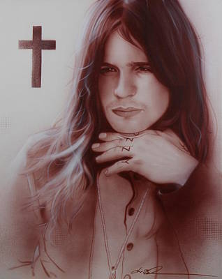 70s Painting - ' Ozzy Osbourne ' by Christian Chapman Art