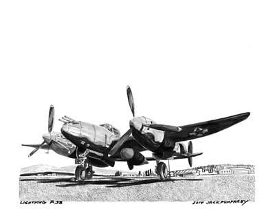 Cockpit Drawing - P 38 Lightning by Jack Pumphrey