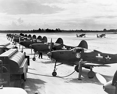 Airplane Photograph - P-39 Airacobra Fighter Planes by Underwood Archives