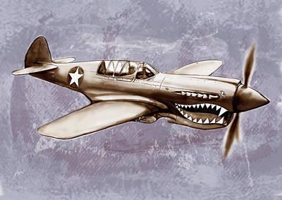 P 40 N Warhawk Airplane In World War 2 - Stylised Modern Drawing Art Sketch Print by Kim Wang