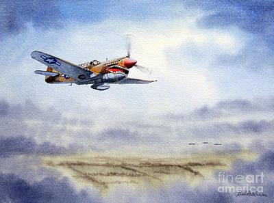 Raf Painting - P-40 Warhawk by Bill Holkham