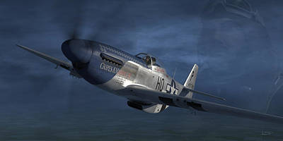 George Digital Art - P-51 Ace George Preddy by Robert Perry