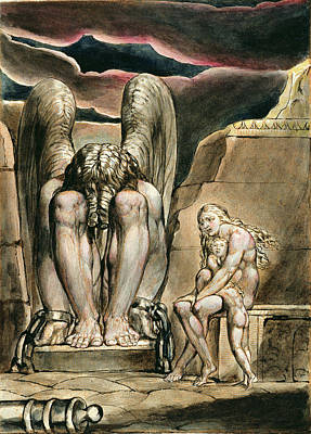Nude Children Drawing - P.127-1950.pt1 Albions Angel by William Blake