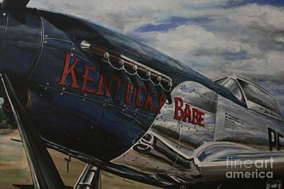 P51 Mustang Kentucky Babe Warbird Original by Richard John Holden RA