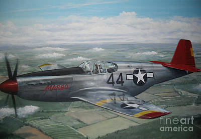 P51 Mustang Red Tail  Original by Phil Christman