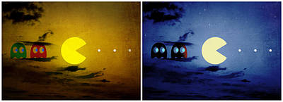 Pacman Digital Art - Pac-scape Orizontal Diptych by Filippo B