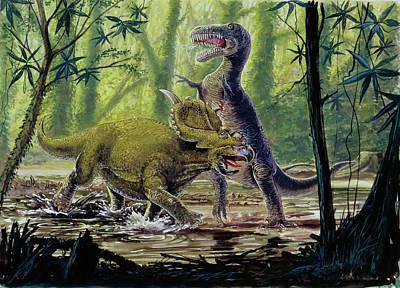 Pachyrhinosaurus And Theropod Fighting Print by Deagostini/uig