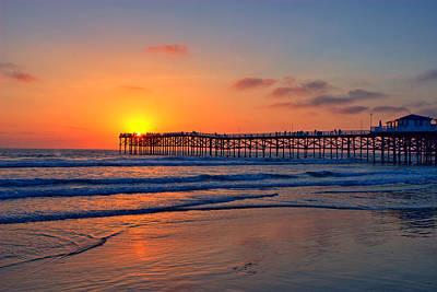 Pacific Beach Pier Sunset Ex Lrg Print by Peter Tellone