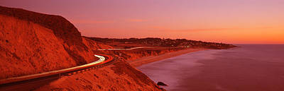 Curving Road Photograph - Pacific Coast Highway At Sunset by Panoramic Images