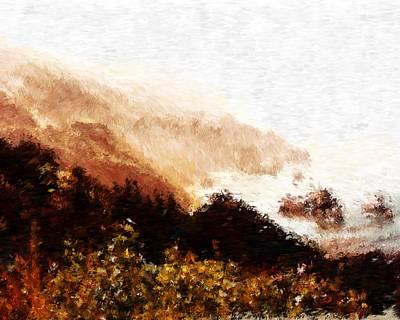 Digital Art - Pacific Coastal Highway View_impressionist Digital Painting by Asbjorn Lonvig