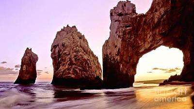 Abstract Beach Landscape Digital Art - Pacific Coastline Sunset by Bob and Nadine Johnston